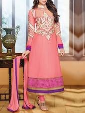 Pink Embroidered Georgette Semi-stitched Anarkali Suit Set - Fabfiza