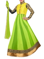 Embroidered Sleeve Georgette Green Suit Set - Fabfiza