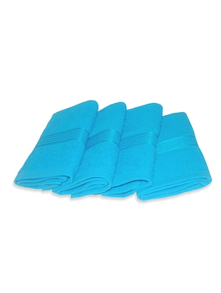 turquoise cotton face towel set of 4
