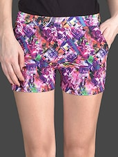 Multicolored Printed Cotton Lycra Shorts - AGC By Pretty Angel