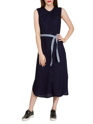 navy blue viscose shirt dress