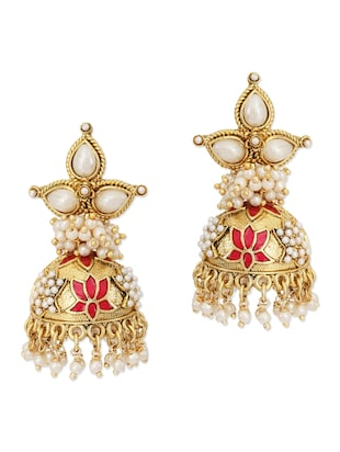 Gold pearl embellished ethnic jhumkas