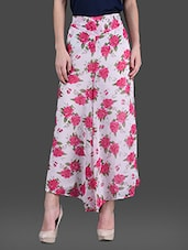 Rose Printed Georgette Palazzos - London Off - 1142111