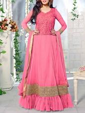 Pink Embroidered Silk Net And Georgette Salwar Suit Set - Fabliva