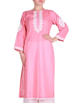 Light pink embroidered cotton kurta