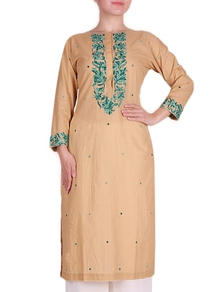 Beige embroidered cotton kurta