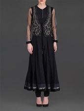 Black Embroidered Anarkali Suit Set - By
