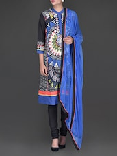 Printed And Embroidered Black And Royal Blue Suit - Ritu Kumar