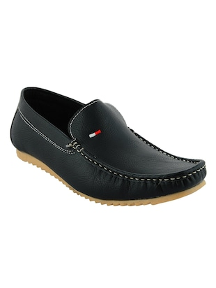black synthetic slip on loafers