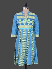 Blue Printed Cotton Kurta - Rain And Rainbow