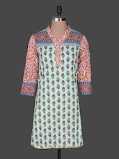 Quarter Sleeves Printed Cotton Kurta - Rain And Rainbow