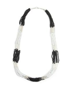 White, Black And Silver Beaded Necklace - Toniq
