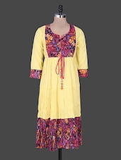 Yellow Gathered Printed Cotton Kurta - Rain And Rainbow