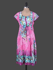 Pink Floral Gather Print Cotton Kurta - Rain And Rainbow