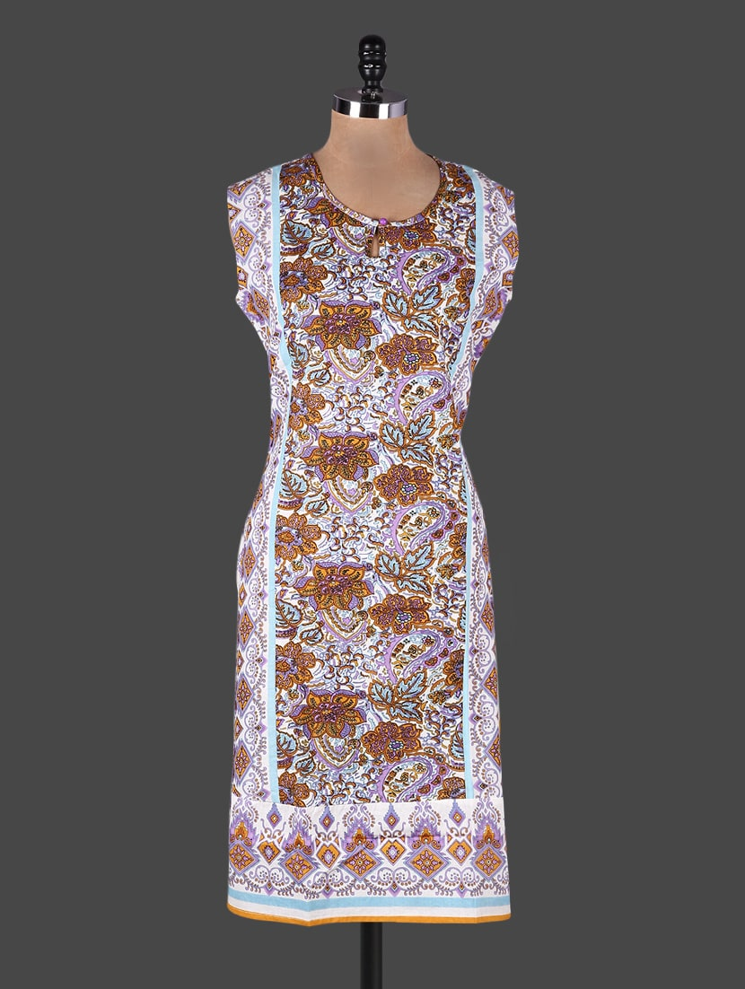 Floral With Leaf Printed Cotton Kurta - Rain And Rainbow