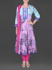 Multicolour Embroidered Sleeves Cotton Suit Set - Rain And Rainbow