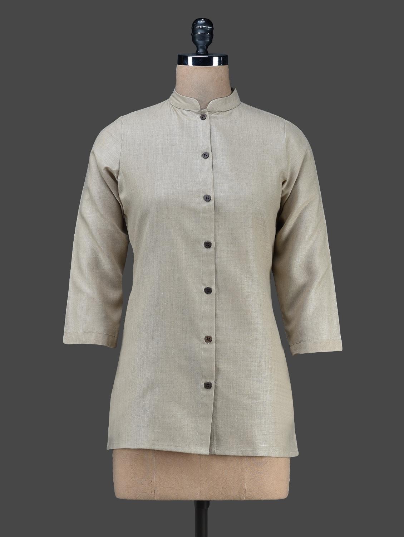 Beige Plain Short Cotton Kurta - Vedanta