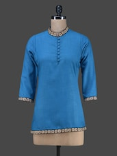Blue Plain Short Cotton Kurta - Vedanta