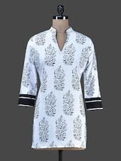 White Printed Cotton Kurta - Vedanta