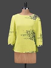 Yellow Printed Chiffon Top - NEE