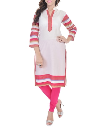 white and pink printed cotton kurta