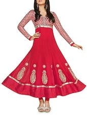 Pink Embroidered Georgette Anarkali Suit Set - Fayda Bazaar