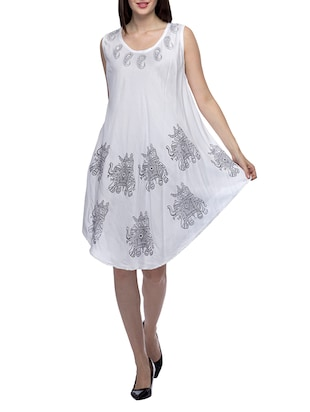 white printed and mirror worked viscose dress - online shopping for Dresses ce8cd3950