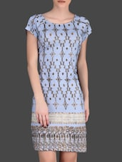 Gold Printed Light Blue Dress - LABEL Ritu Kumar