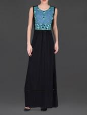Mirror Worked Sleeveless Black Maxi Dress - LABEL Ritu Kumar