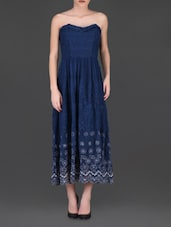 Embroidered Navy Blue Strapless Maxi Dress - LABEL Ritu Kumar