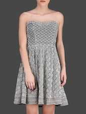 Black And White Lace Strapless Dress - LABEL Ritu Kumar