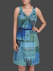 Printed Teal Sleeveless Sheath Dress - LABEL Ritu Kumar