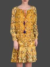Multi-Print Yellow Full-Sleeved Dress - LABEL Ritu Kumar