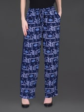 Printed Indigo Wide-Leg Pants - LABEL Ritu Kumar
