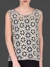 Grey Floral Cutwork Sleeveless Top - LABEL Ritu Kumar