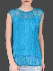 Turquoise Printed Sleeveless Viscose Top - LABEL Ritu Kumar
