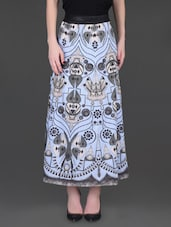 Powder Blue Printed Cotton Skirt - LABEL Ritu Kumar