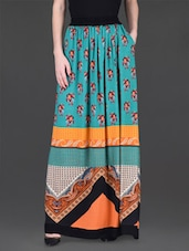 Green Printed Long Skirt - LABEL Ritu Kumar