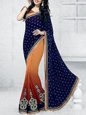 Blue Embroidered Half & Half Saree - Craftliva