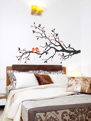 Multicolor Vinyl Leaves And Birds Wall Sticker