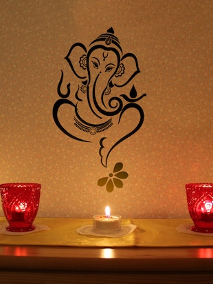 Black Ganesha Vinyl Wall Sticker