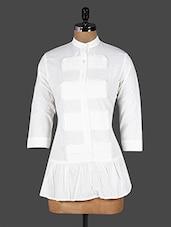 White Flared Mandarin Collar Cotton Shirt - I&E