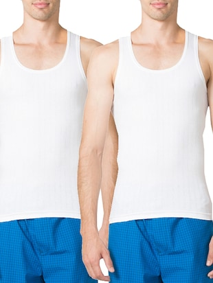 white cotton vests ( set of 2)