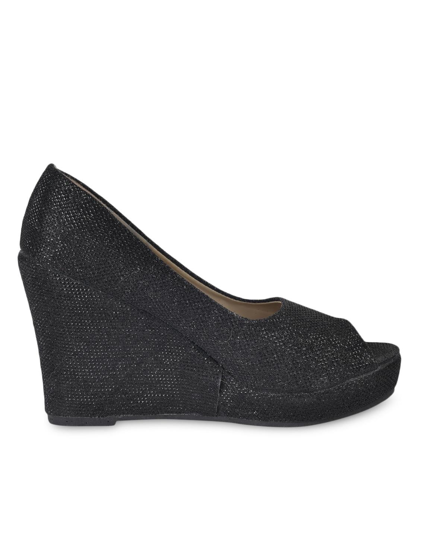 Textured Black Peep Toe Wedges - Flat N Heels