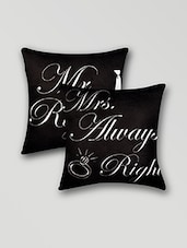 Black And White Velvet Printed Cushion Cover Set Of 2 - Ambbi Collections
