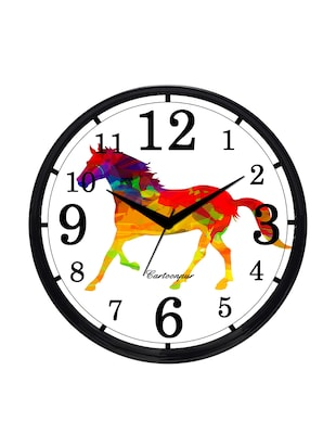 Cartoonpur Analog Round 11 Inch Horse Wall Clock with Glass