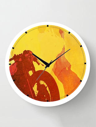 Cartoonpur Analog White Round 11 Inch Biker Silent Movement Non Ticking wall clock with Glass