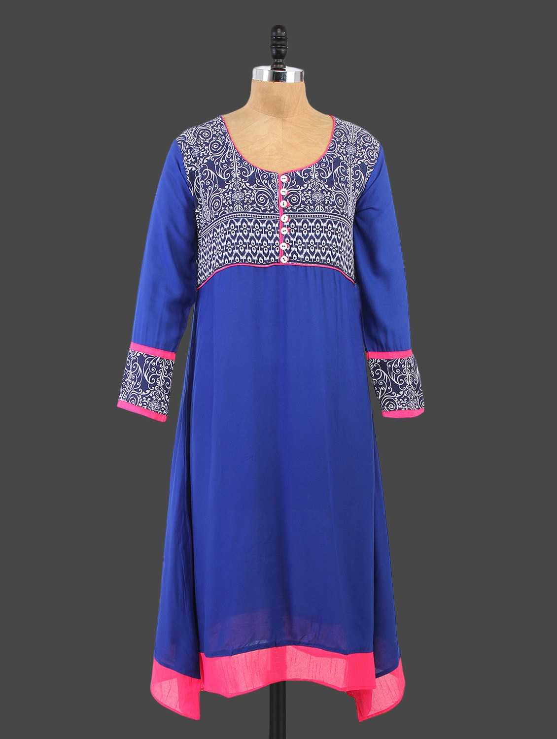 Blue Round Neck Printed Kurta - By