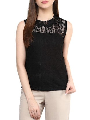 solid black net top