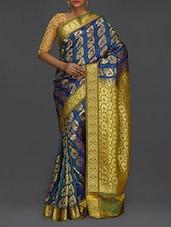 Golden Floral Pallu Blue Kanjivaram Saree - SareesHut